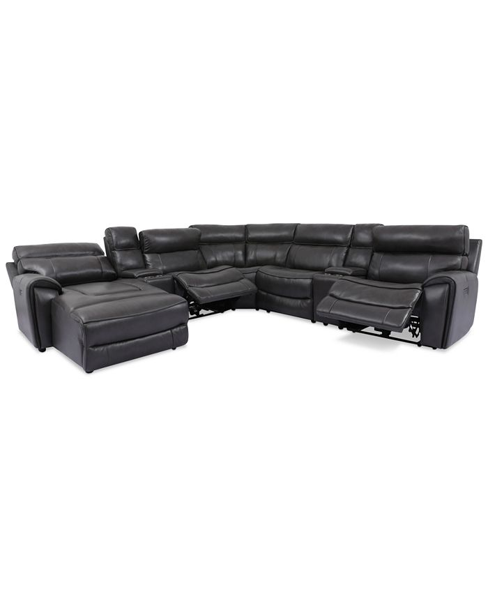 Furniture - Hutchenson 7-Pc. Leather Chaise Sectional with 2 Power Recliners and 2 Consoles