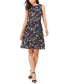 Floral-Print Bow Fit & Flare Dress