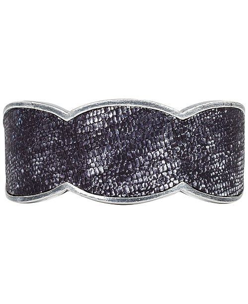 Patricia Nash Silver-Tone Textured Leather Inset Cuff Bracelet