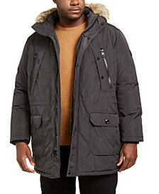 Calvin Klein Men's Big & Tall Long Snorkel Coat with Faux-Fur Trimmed Hood