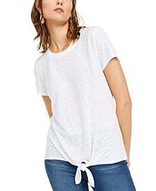 INC Petite Tie-Front T-Shirt, Created for Macy's