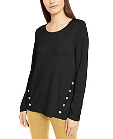 Petite Hardware Seamed Pullover Sweater, Created for Macy's