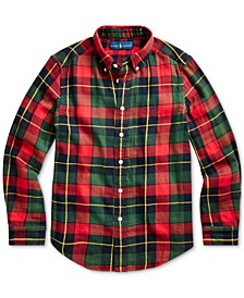 Big Boys Plaid Cotton Twill Shirt, Created For Macy's