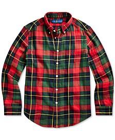 Big Boys Plaid Cotton Twill Shirt, Created For Macy's