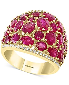 EFFY® Certified Ruby (6-5/8 ct. t.w.) & Diamond (1/5 ct.t.w.) Statement Ring in 14k Gold