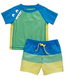 Baby Boys 2-Pc. Monster Rash Guard & Swim Trunks Set, Created for Macy's