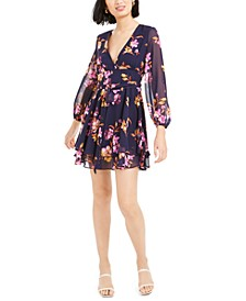 Printed Blouson-Sleeve Dress, Created for Macy's