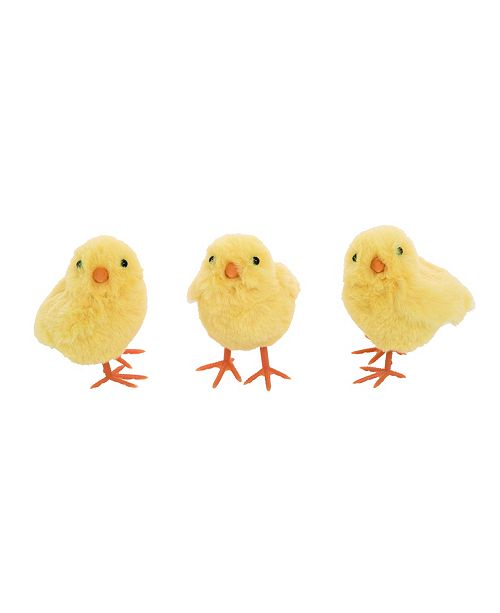 Trans Pac Yellow Easter Plush Baby Chick - Set of 3