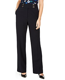 Petite High-Rise Buttoned-Waist Dress Pants