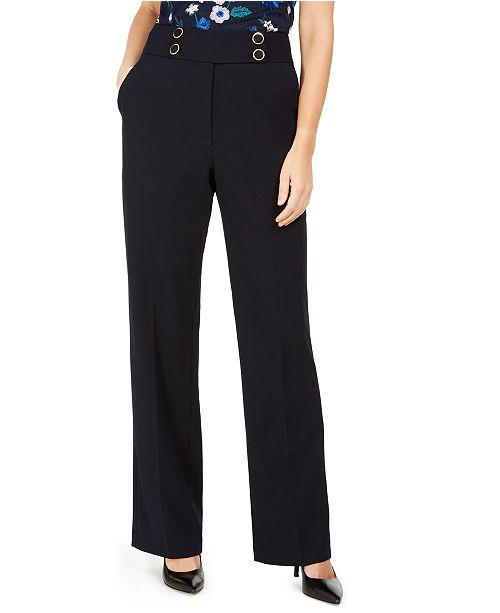 Calvin Klein Petite High-Rise Buttoned-Waist Dress Pants