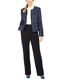 Petite Tweed Jacket, Ruffle-Front Top & Button-Waist Pants