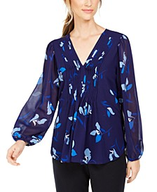 Floral Printed Pintuck-Pleated Blouse