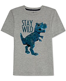 Little Boys Flip Dino Sequin T-Shirt