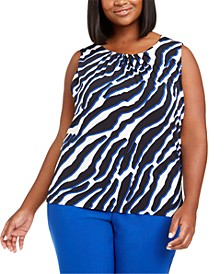 Plus Size Animal Printed Gathered-Neck Top
