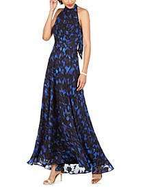 Printed Tie-Neck Halter Gown