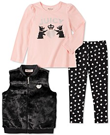 Little Girls 3-Pc. Faux-Fur Vest, Top & Heart Leggings Set