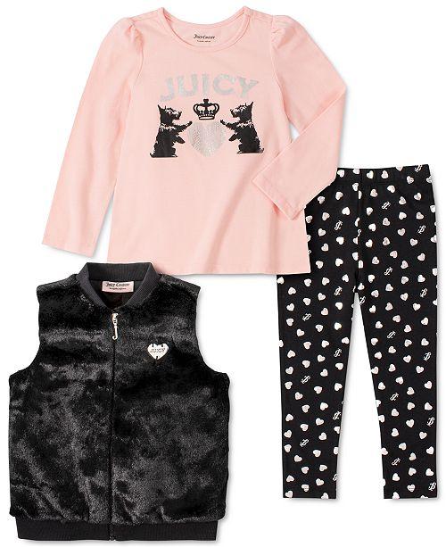 Juicy Couture Little Girls 3-Pc. Faux-Fur Vest, Top & Heart Leggings Set