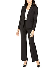 Single-Button Pinstriped Pants Suit