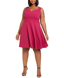 Trendy Plus Size Scuba Fit & Flare Dress