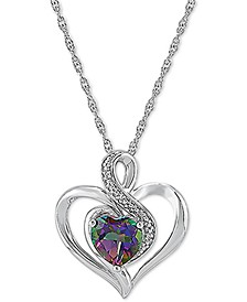 "Mystic Topaz (1-1/2 ct. t.w.) & Diamond 18"" Pendant Necklace in Sterling Silver (Also in Lab-Created Pink Sapphire)"