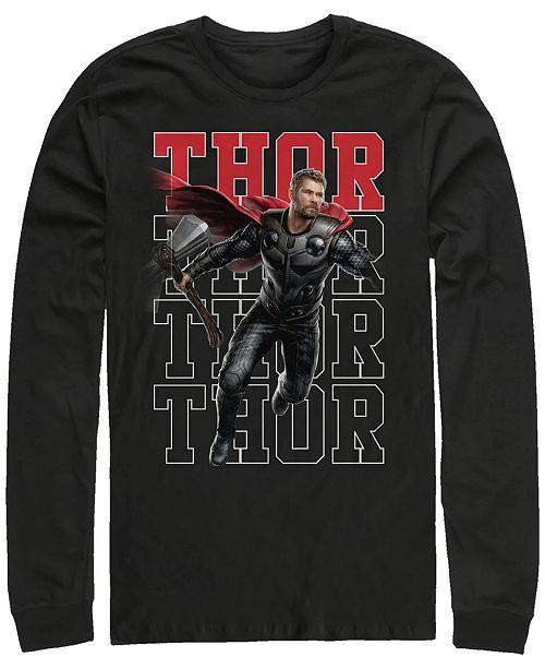 Marvel Men's Avengers Endgame Thor Action Pose, Long Sleeve T-shirt