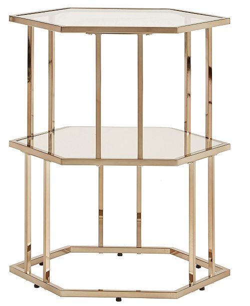 iNSPIRE Q Alida Side Table with Mirror Shelf and Glass Top