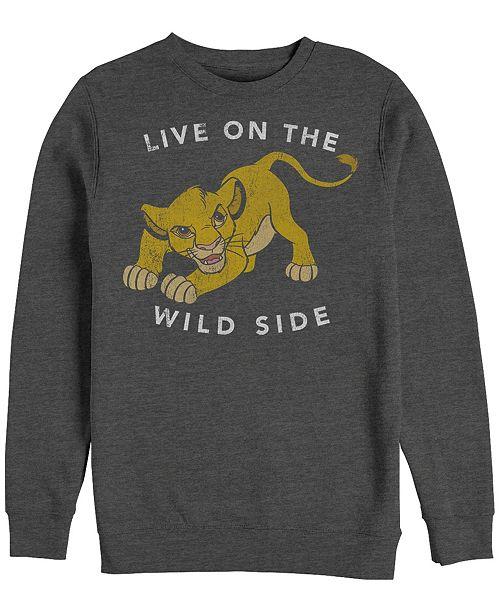 Disney Men's Lion King Simba Wild Side, Crewneck Fleece