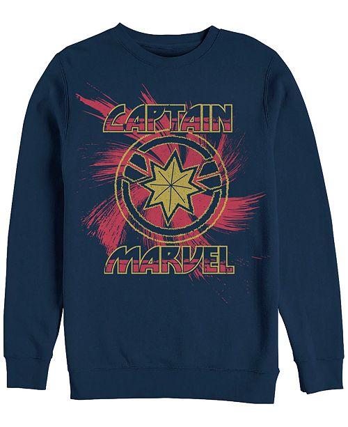 Marvel Men's Captain Marvel Swirl Chest Logo, Crewneck Fleece