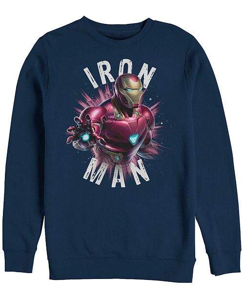 Marvel Men's Avengers Endgame Iron Man Particle Burst, Crewneck Fleece