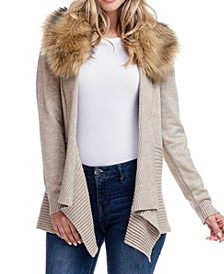 Detachable Faux Fur Collar Sweater