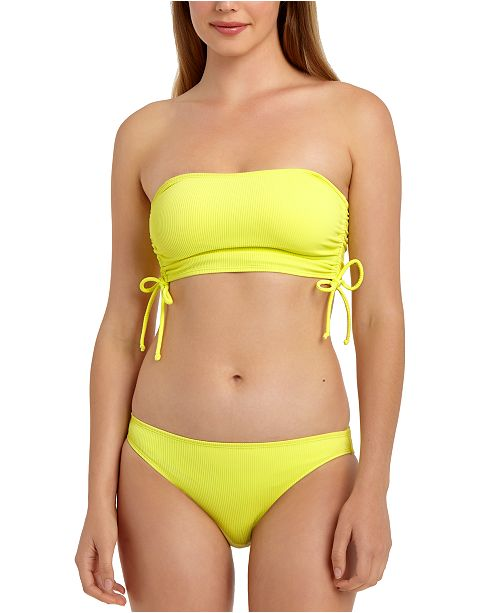 California Waves Juniors' Ribbed Adjustable Tube Bikini Top & Hipster Bottoms, Created for Macy's