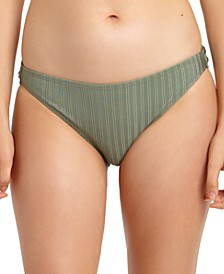 Juniors' Metallic Ribbed Hipster Bikini Bottoms, Created for Macy's
