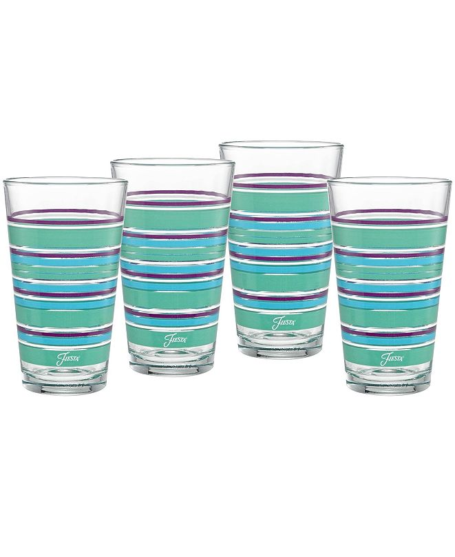Fiesta Farmhouse Chic Stripes 16-Ounce Tapered Cooler Glass Set of 4