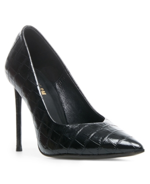 Steve Madden Princess Reptile Embossed Pointed Toe Pump In Black Croco Patent