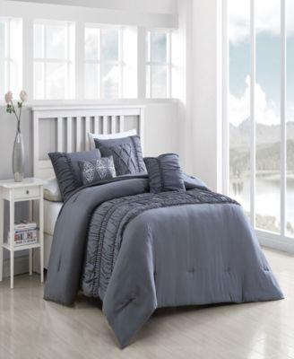 Navier 6-Piece Ruched Queen Bedding Set