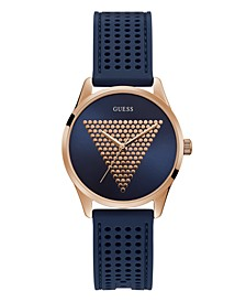 Women's Rose Gold-Tone and Blue Silicone Logo Watch, 36mm