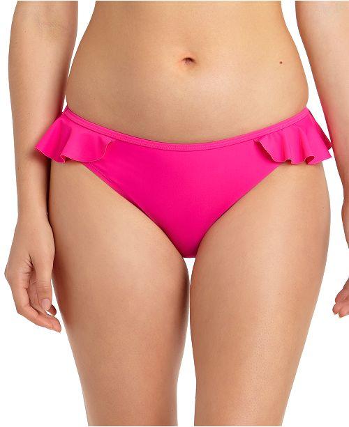 California Waves Juniors' Solid Ruffled Hipster Bikini Bottoms, Created for Macy's