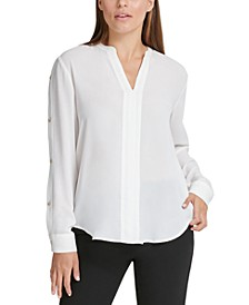 Buttoned-Sleeve Pleated-Placket Top