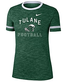 Women's Tulane Green Wave Slub Fan Ringer T-Shirt