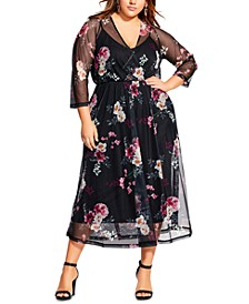 Trendy Plus Size Faux-Wrap Sheer-Overlay Dress