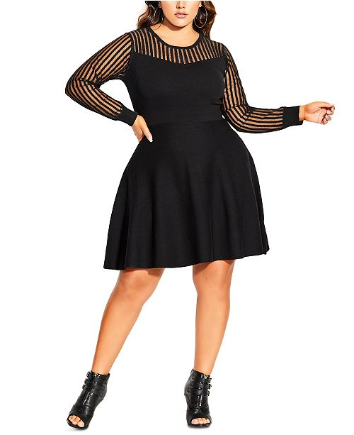 City Chic Trendy Plus Size Ribbed Sweater Dress