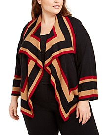 Plus Size Colorblocked Cardigan Sweater