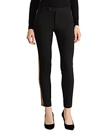 Metallic-Trim Ponte Pants