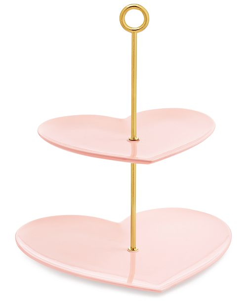 Martha Stewart Collection Ceramic Heart 2-Tier Server, Created For Macy's