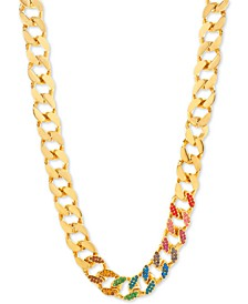 "Gold-Tone Multicolor Rhinestone Large Link 14"" Collar Necklace"