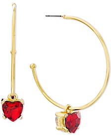 Medium Gold-Tone Stone Heart Dangle Earrings 1-7/10""