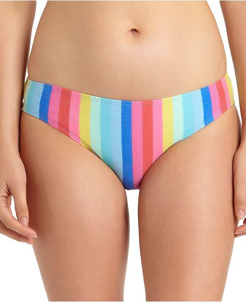 California Waves Juniors' Shiny Rainbow Hipster Bikini Bottoms, Created for Macy's