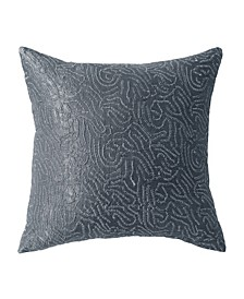 Current 18 Square Metallic Sashiko Decorative Pillow
