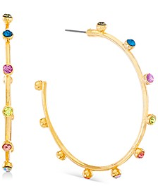 Gold-Tone Medium Multicolor Rhinestone Open Hoop Earrings, 2""