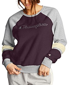 Women's Super Fleece Faux-Fur Colorblocked Metallic-Logo Sweatshirt